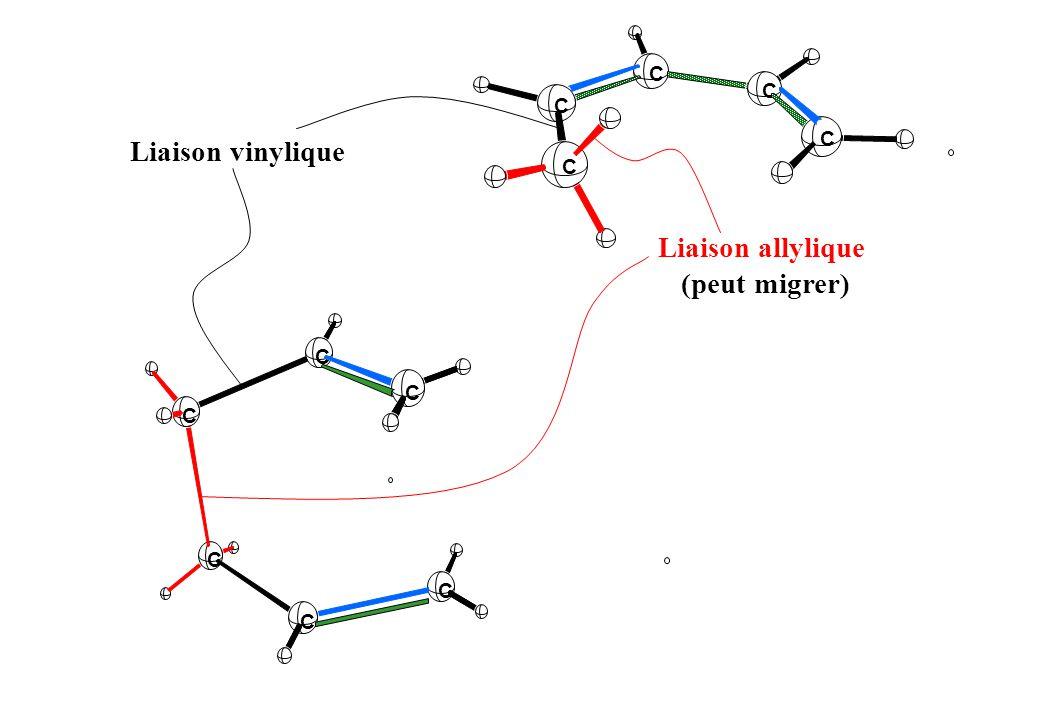 Liaison vinylique Liaison allylique (peut migrer) C C C C C