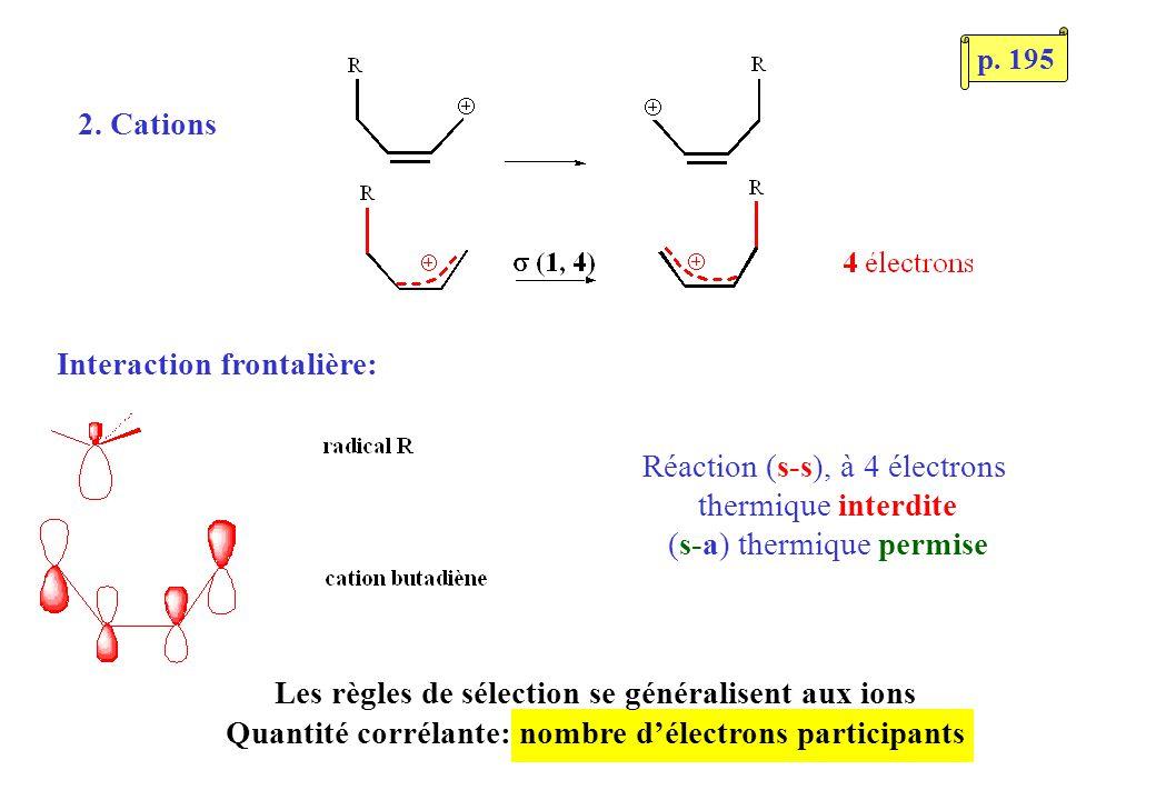 2. Cations Interaction frontalière: Réaction (s-s), à 4 électrons thermique interdite (s-a) thermique permise Les règles de sélection se généralisent