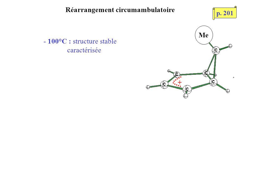 - 100°C : structure stable caractérisée Me Réarrangement circumambulatoire + p. 201
