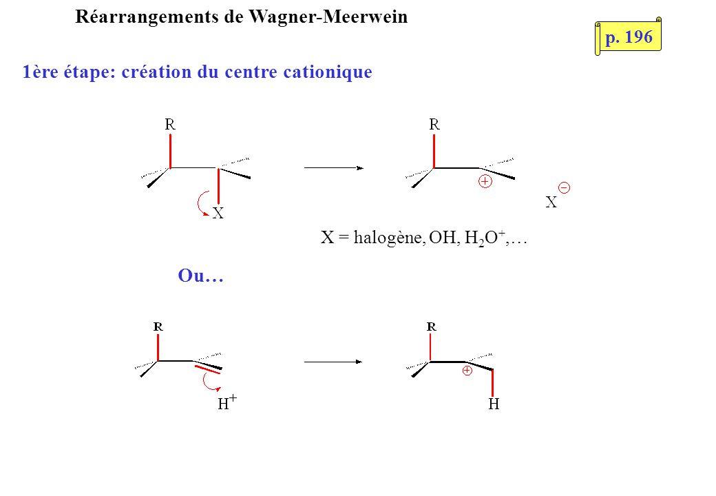 Réarrangements de Wagner-Meerwein Ou… 1ère étape: création du centre cationique X = halogène, OH, H 2 O +,… p. 196
