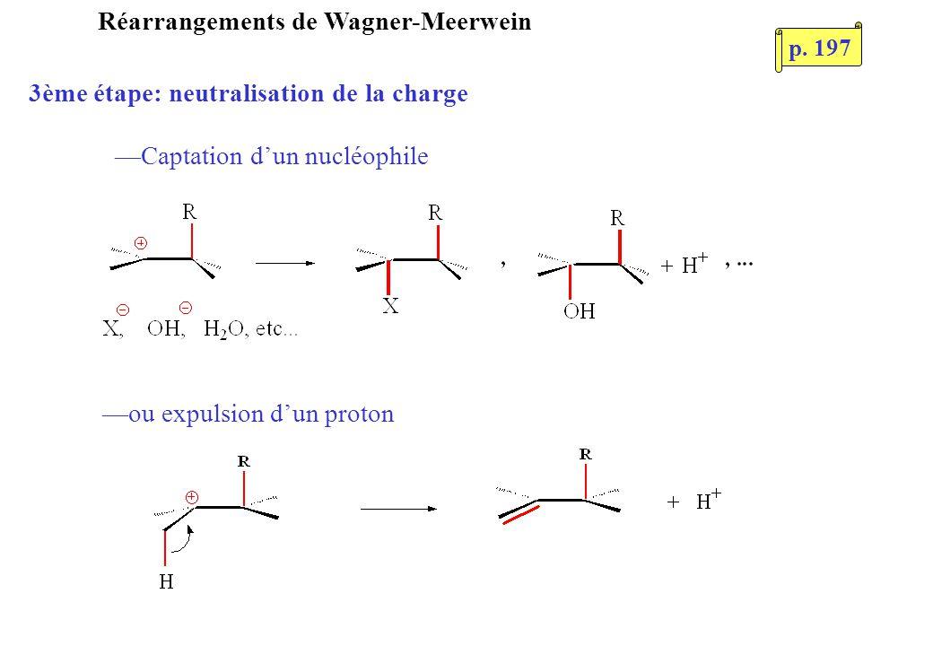 Réarrangements de Wagner-Meerwein 3ème étape: neutralisation de la charge Captation dun nucléophile ou expulsion dun proton p. 197