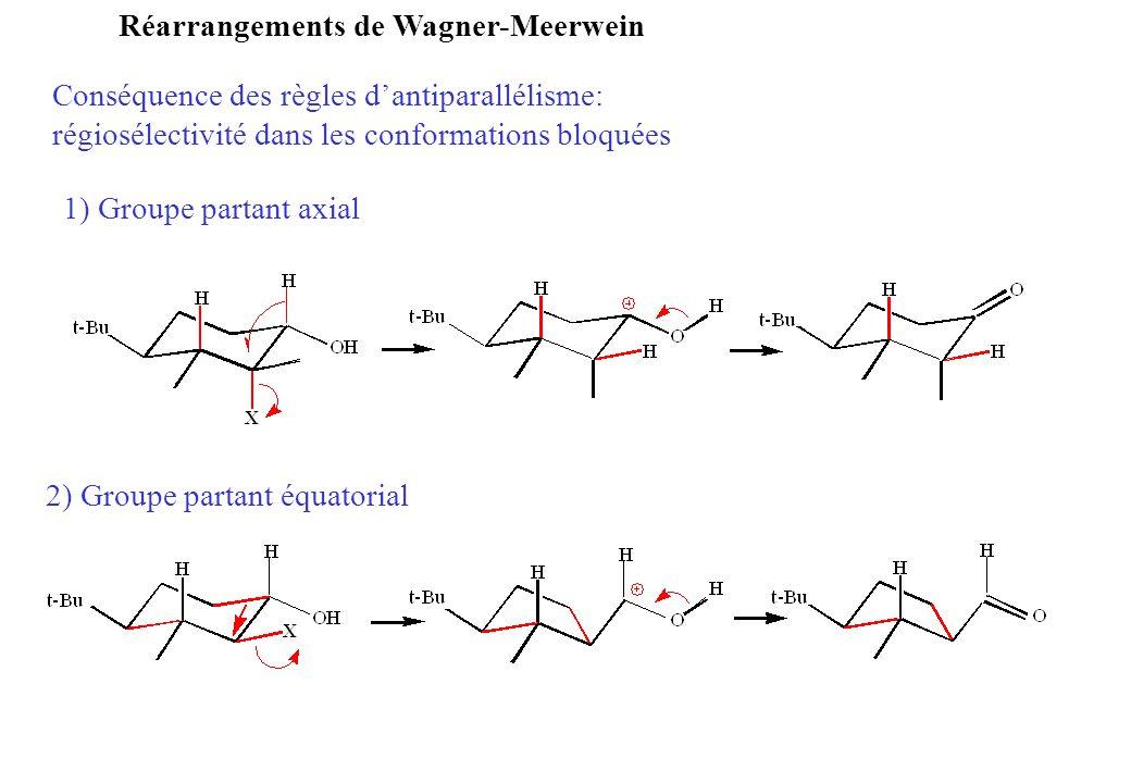 Conséquence des règles dantiparallélisme: régiosélectivité dans les conformations bloquées Réarrangements de Wagner-Meerwein 1) Groupe partant axial 2