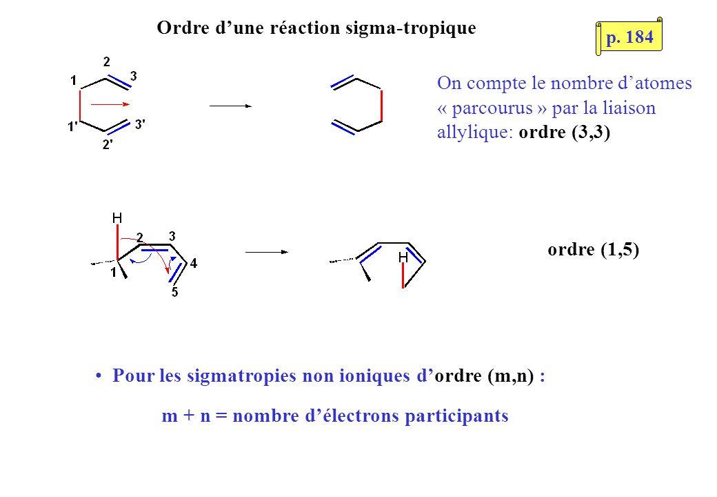 Ordre dune réaction sigma-tropique On compte le nombre datomes « parcourus » par la liaison allylique: ordre (3,3) Pour les sigmatropies non ioniques