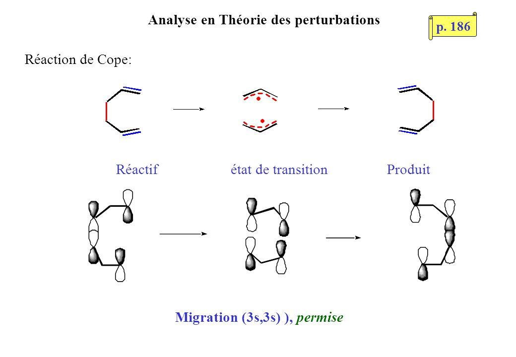 Analyse en Théorie des perturbations Réactif état de transition Produit Réaction de Cope: Migration (3s,3s) ), permise p. 186