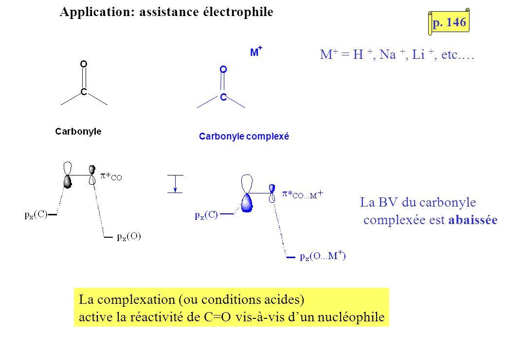 Application: assistance électrophile C O M + Carbonyle complexé M + = H +, Na +, Li +, etc.… La complexation (ou conditions acides) active la réactivi