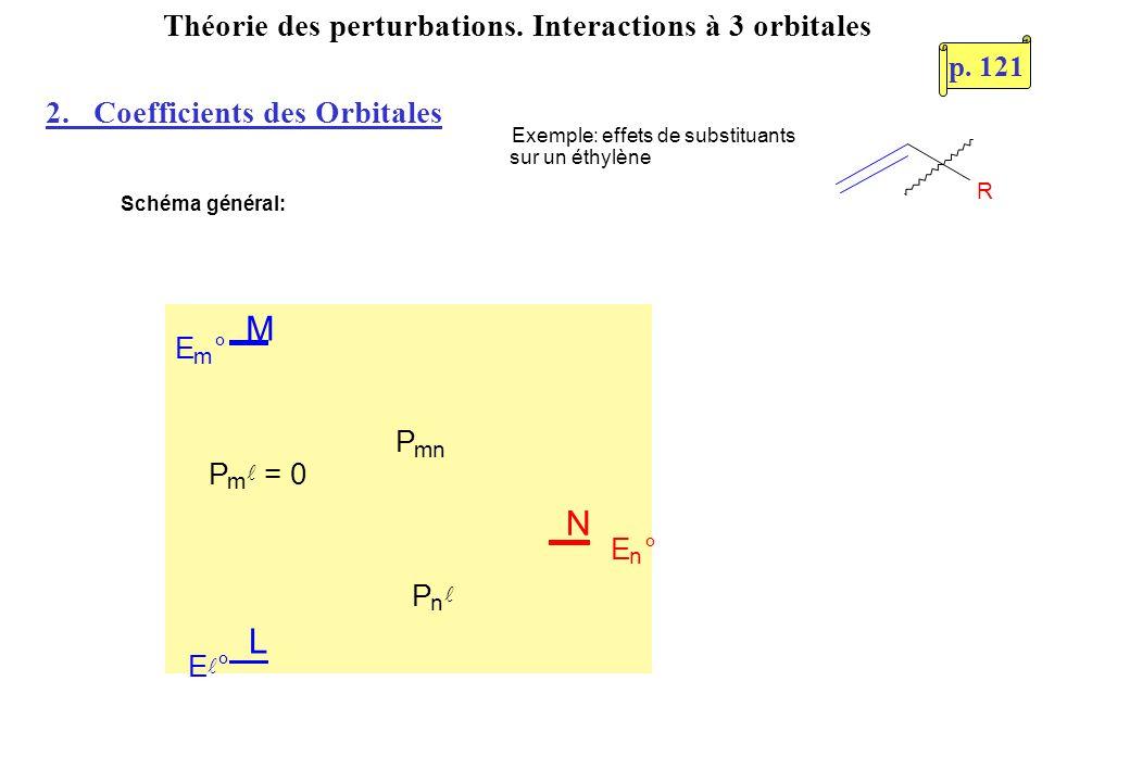 Théorie des perturbations. Interactions à 3 orbitales R Exemple: effets de substituants sur un éthylène Schéma général: L M N E m ° P m = 0 P n P mn E