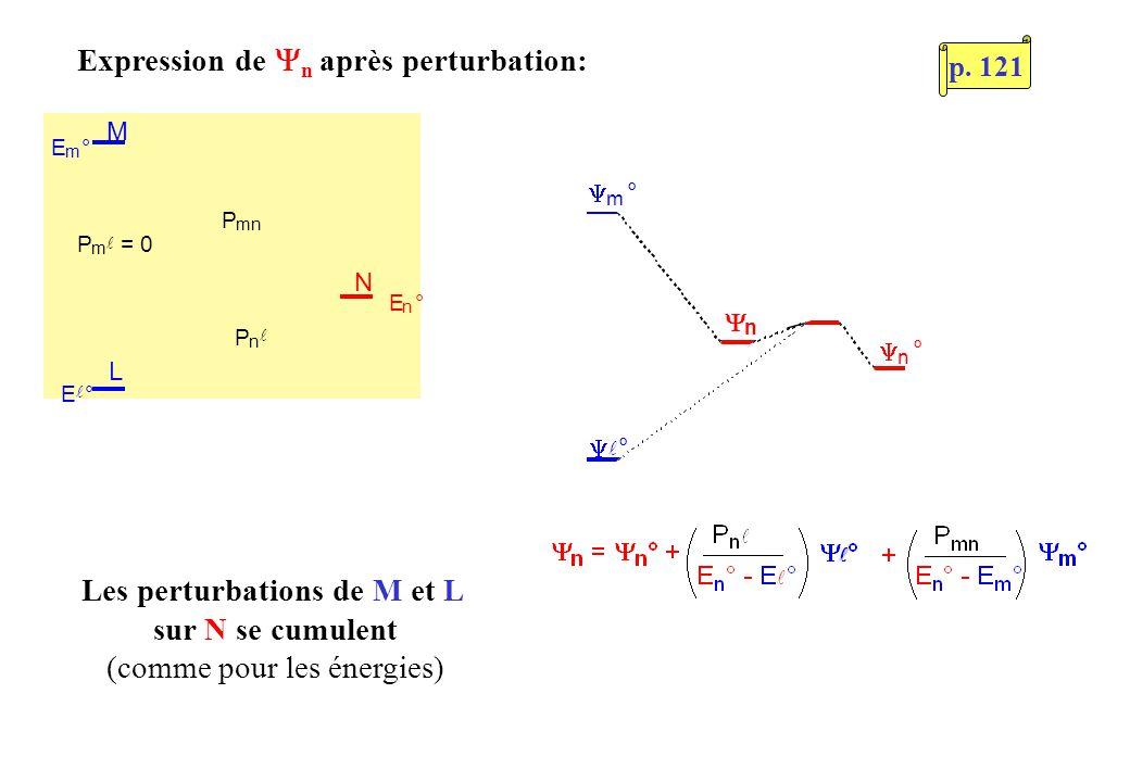 L M N E m ° P m = 0 P n P mn E ° E n ° n ° m ° ° n Expression de n après perturbation: Les perturbations de M et L sur N se cumulent (comme pour les é
