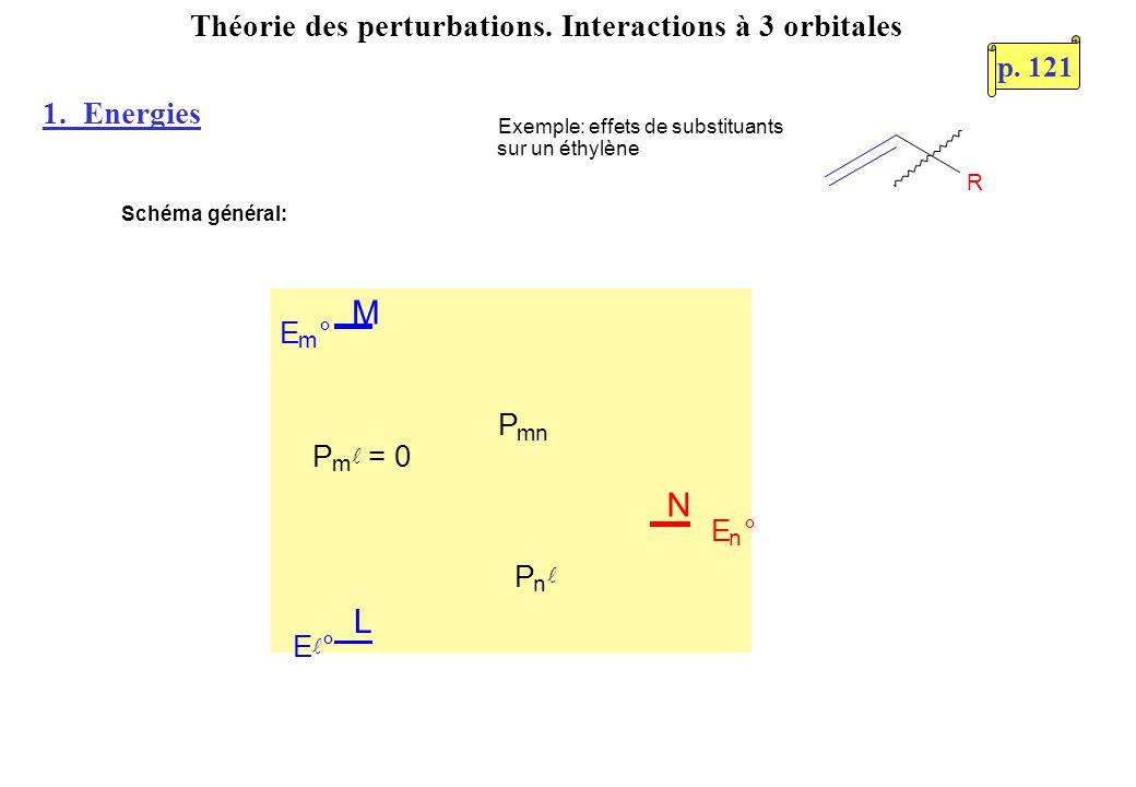 Energie de N après perturbation: Les perturbations de M et L sur N se cumulent L M N E m ° P m = 0 P n P mn E ° E n ° p.