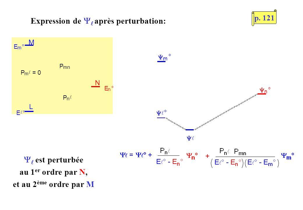 L M N E m ° P m = 0 P n P mn E ° E n ° ° m ° n ° est perturbée au 1 er ordre par N, et au 2 ème ordre par M Expression de après perturbation: p. 121