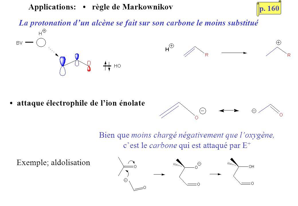 Applications: règle de Markownikov La protonation dun alcène se fait sur son carbone le moins substitué attaque électrophile de lion énolate Bien que moins chargé négativement que loxygène, cest le carbone qui est attaqué par E + Exemple; aldolisation p.