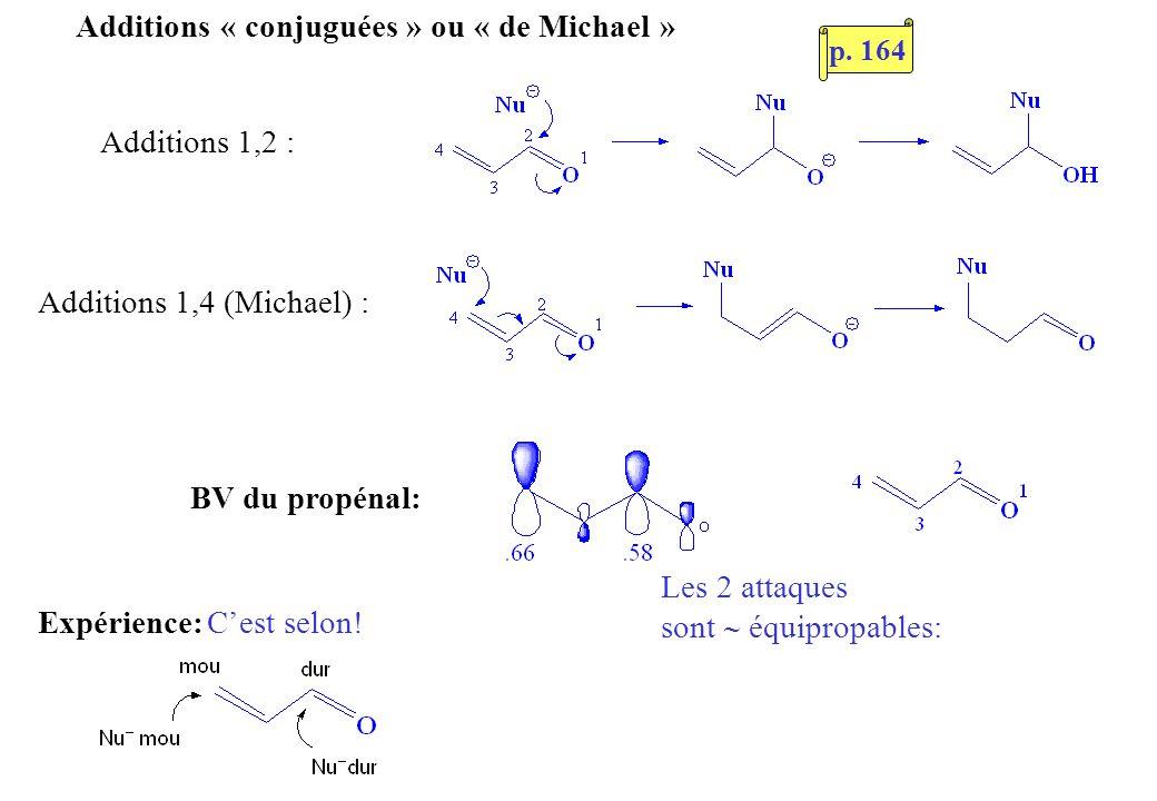 Additions « conjuguées » ou « de Michael » Additions 1,2 : Additions 1,4 (Michael) : Les 2 attaques sont équipropables: BV du propénal: Expérience:Ces