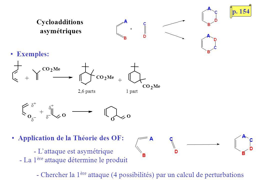Cycloadditions asymétriques O O 1 part2,6 parts CO 2 Me + CO 2 Me CO 2 Me + O O + Exemples: Application de la Théorie des OF: - Lattaque est asymétriq