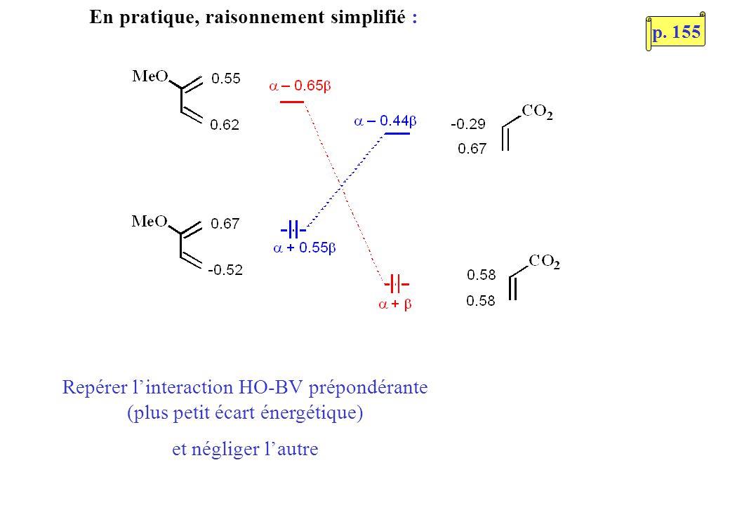 En pratique, raisonnement simplifié : Repérer linteraction HO-BV prépondérante (plus petit écart énergétique) et négliger lautre p.