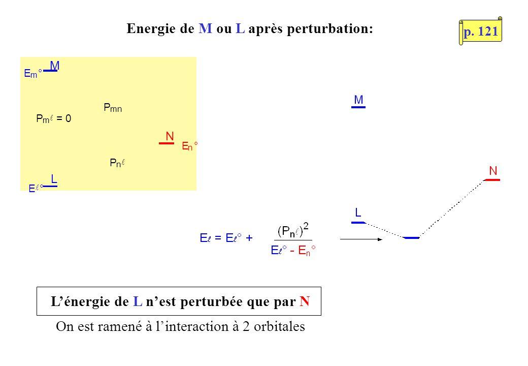 Energie de M ou L après perturbation: L M N E m ° P m = 0 P n P mn E ° E n ° Lénergie de L nest perturbée que par N On est ramené à linteraction à 2 orbitales p.