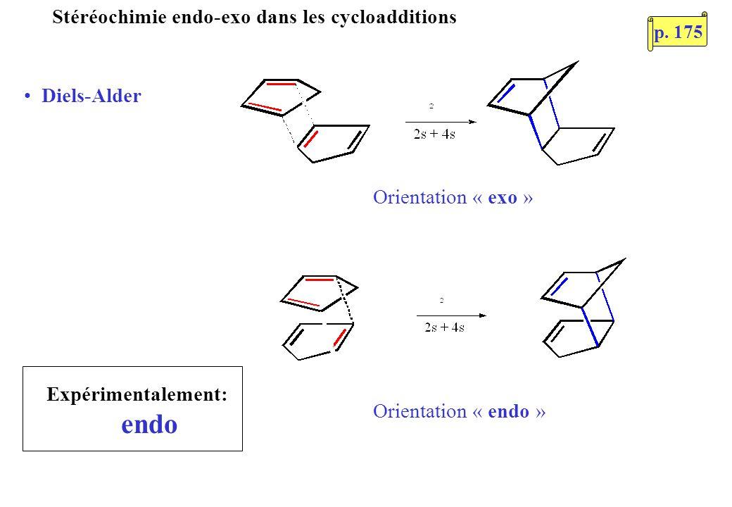 Stéréochimie endo-exo dans les cycloadditions Diels-Alder Orientation « exo » Orientation « endo » Expérimentalement: endo p. 175