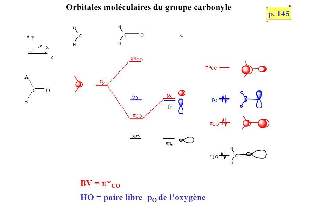 C H H O OC H H p x n p CO CO CO p O sp O C H H p O O p y e CO BV = * CO HO = paire libre p O de loxygène Orbitales moléculaires du groupe carbonyle C y O A B x z p.