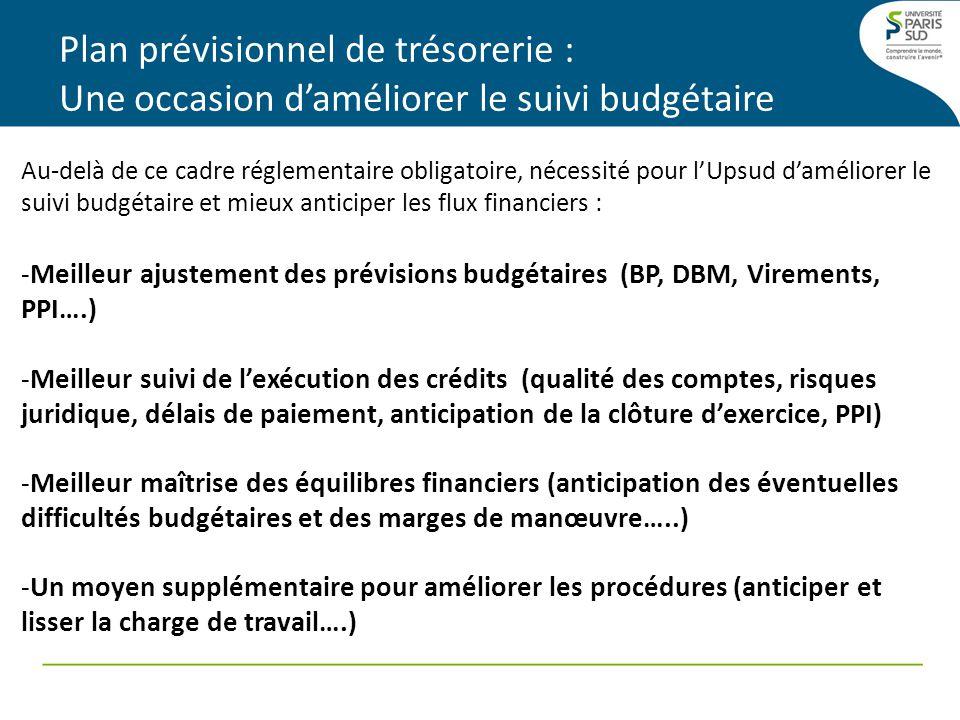 Plan prévisionnel de trésorerie : Une occasion daméliorer le suivi budgétaire Au-delà de ce cadre réglementaire obligatoire, nécessité pour lUpsud daméliorer le suivi budgétaire et mieux anticiper les flux financiers : -Meilleur ajustement des prévisions budgétaires (BP, DBM, Virements, PPI….) -Meilleur suivi de lexécution des crédits (qualité des comptes, risques juridique, délais de paiement, anticipation de la clôture dexercice, PPI) -Meilleur maîtrise des équilibres financiers (anticipation des éventuelles difficultés budgétaires et des marges de manœuvre…..) -Un moyen supplémentaire pour améliorer les procédures (anticiper et lisser la charge de travail….)