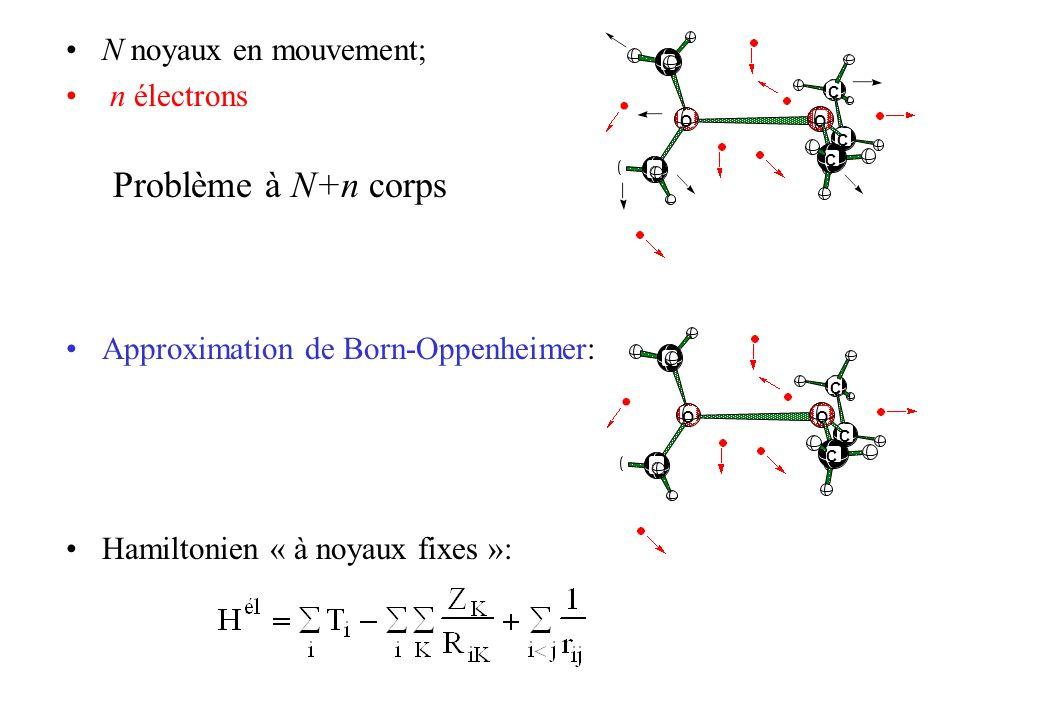 N noyaux en mouvement; n électrons Problème à N+n corps Approximation de Born-Oppenheimer: Hamiltonien « à noyaux fixes »: C C O C C O C C C O C C O C