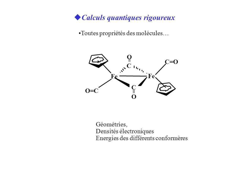 C=O O=C Fe C C O O = = uCalculs quantiques rigoureux Toutes propriétés des molécules… Géométries, Densités électroniques Energies des différents conformères