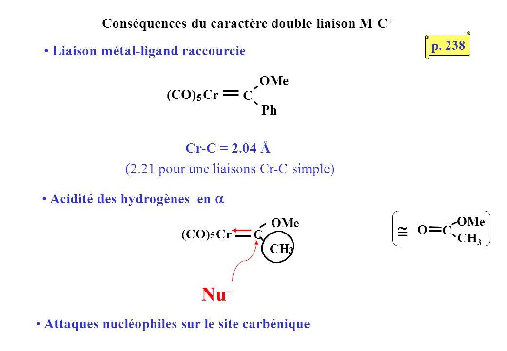 Conséquences du caractère double liaison M – C + C OMe Ph (CO) 5 Cr C OMe CH 3 (CO) 5 Cr Cr-C = 2.04 Å (2.21 pour une liaisons Cr-C simple) Liaison mé