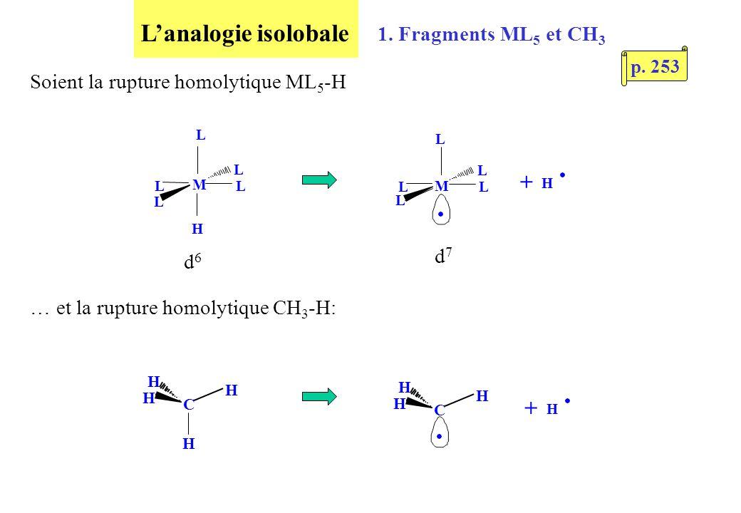 Lanalogie isolobale H Soient la rupture homolytique ML 5 -H M L L L L L M L L L L L H + d6d6 d7d7 1.