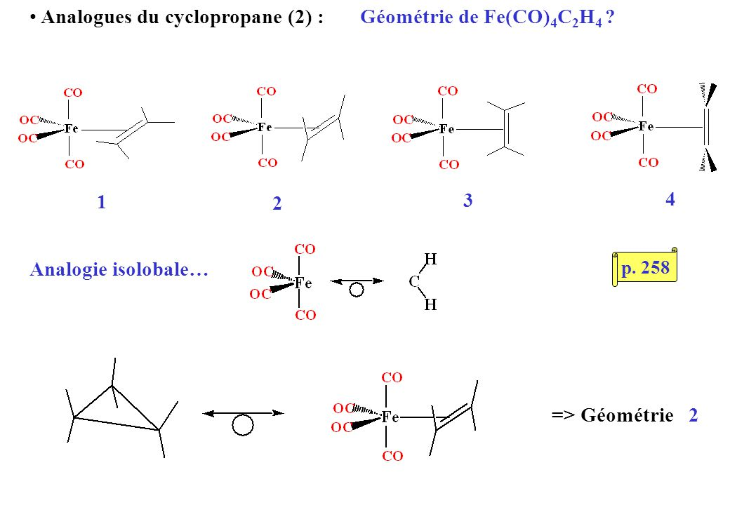 Analogues du cyclopropane (2) : Géométrie de Fe(CO) 4 C 2 H 4 .