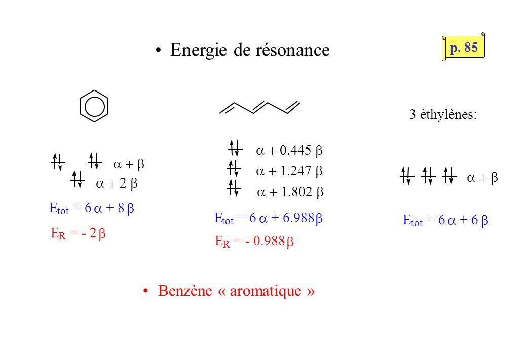 Energie de résonance E tot = 6 + 6.988 E tot = 6 + 6 3 éthylènes: E R = - 0.988 E R = - 2 E tot = 6 + 8 Benzène « aromatique » p.