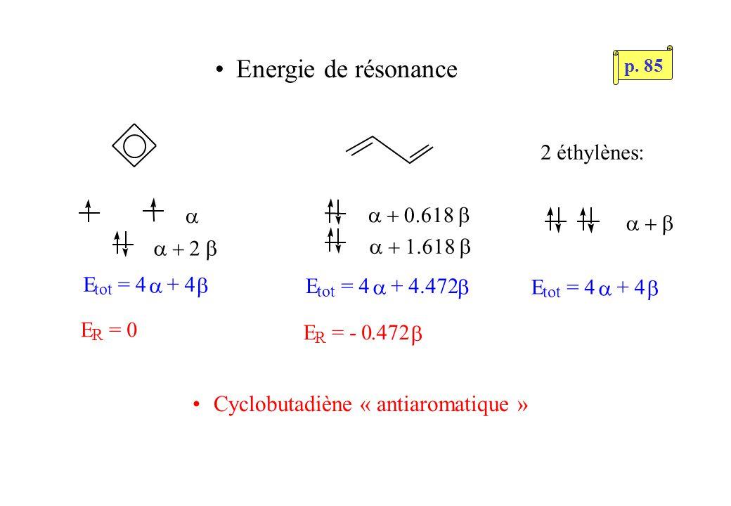Energie de résonance E tot = 4 + 4 E tot = 4 + 4.472 E tot = 4 + 4 2 éthylènes: E R = 0 E R = - 0.472 Cyclobutadiène « antiaromatique » p.