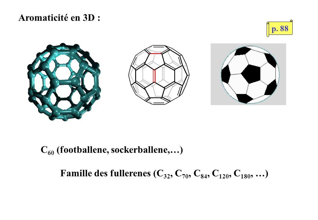 Aromaticité en 3D : C 60 (footballene, sockerballene,…) Famille des fullerenes (C 32, C 70, C 84, C 120, C 180, …) p.