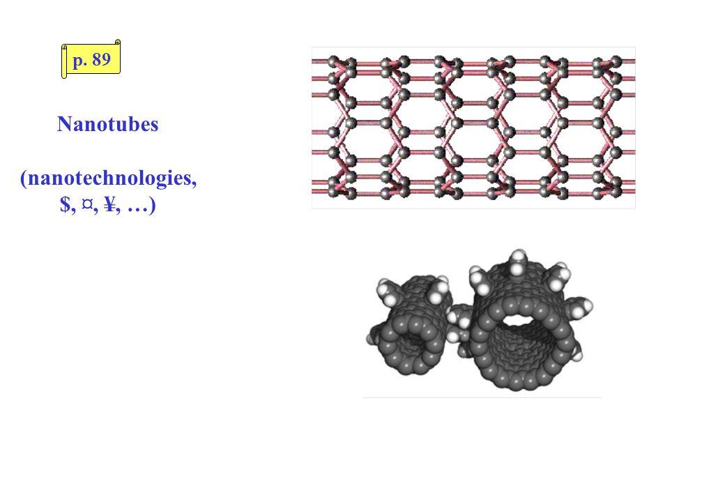 Nanotubes (nanotechnologies, $, ¤, ¥, …) p. 89
