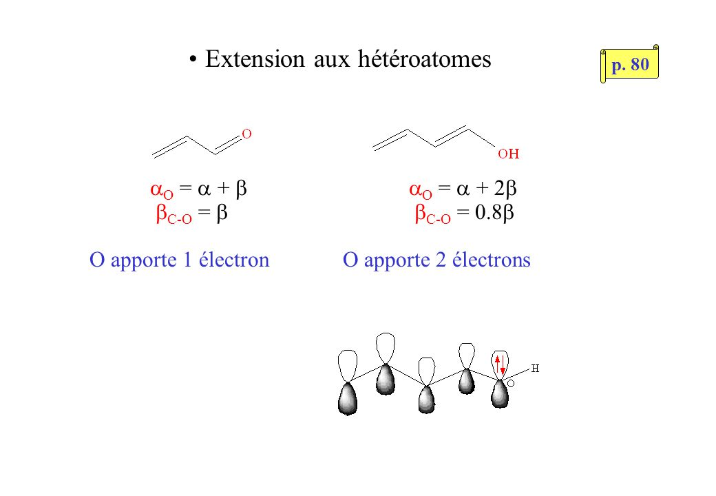Extension aux hétéroatomes O = + C-O = O apporte 1 électron O = + 2 C-O = 0.8 O apporte 2 électrons p.