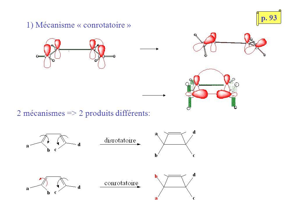1) Mécanisme « conrotatoire » 2 mécanismes => 2 produits différents: p. 93