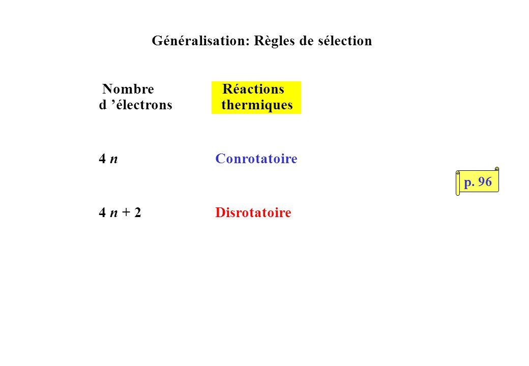 Généralisation: Règles de sélection Nombre Réactions d électrons thermiques 4 n Conrotatoire 4 n + 2 Disrotatoire p.