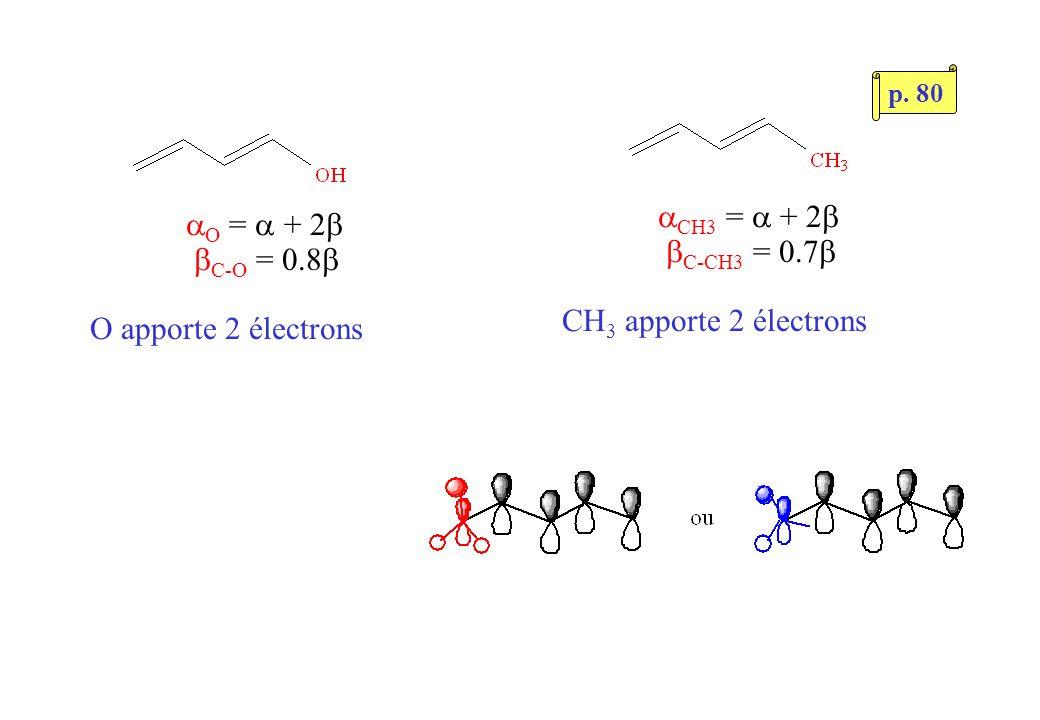 O = + 2 C-O = 0.8 O apporte 2 électrons CH3 = + 2 C-CH3 = 0.7 CH 3 apporte 2 électrons p. 80