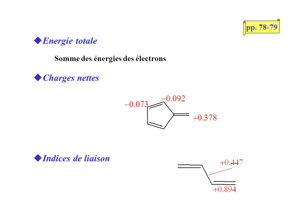 SHMO 2, téléchargeable sur le net Attention aux points suivants: Unité dénergie: (au lieu de habituellement) Hétéroatomes: -paramètres de Streitweiser -Définir dabord, ensuite (cause bug)