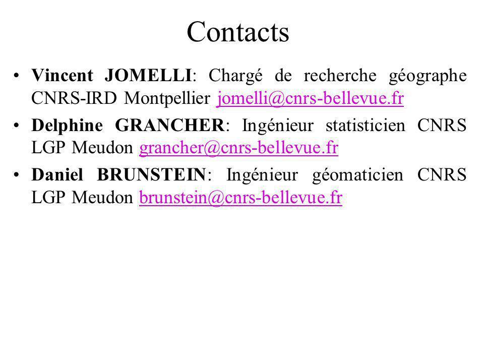 Contacts Vincent JOMELLI: Chargé de recherche géographe CNRS-IRD Montpellier jomelli@cnrs-bellevue.frjomelli@cnrs-bellevue.fr Delphine GRANCHER: Ingénieur statisticien CNRS LGP Meudon grancher@cnrs-bellevue.frgrancher@cnrs-bellevue.fr Daniel BRUNSTEIN: Ingénieur géomaticien CNRS LGP Meudon brunstein@cnrs-bellevue.frbrunstein@cnrs-bellevue.fr