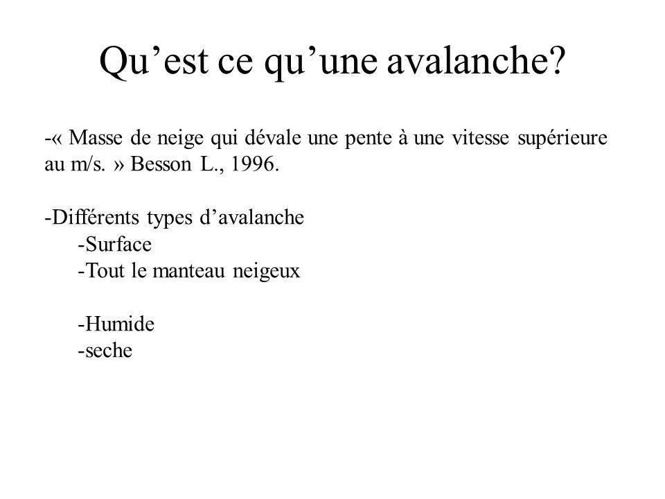 -« Masse de neige qui dévale une pente à une vitesse supérieure au m/s. » Besson L., 1996. -Différents types davalanche -Surface -Tout le manteau neig