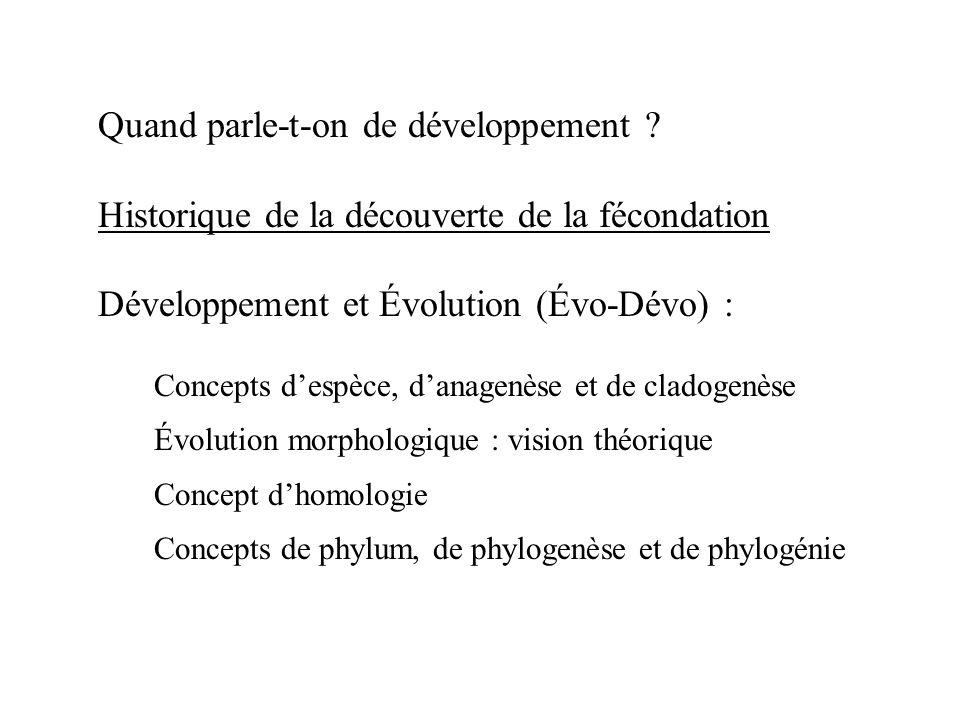 Quand parle-t-on de développement ? Historique de la découverte de la fécondation Développement et Évolution (Évo-Dévo) : Concepts despèce, danagenèse