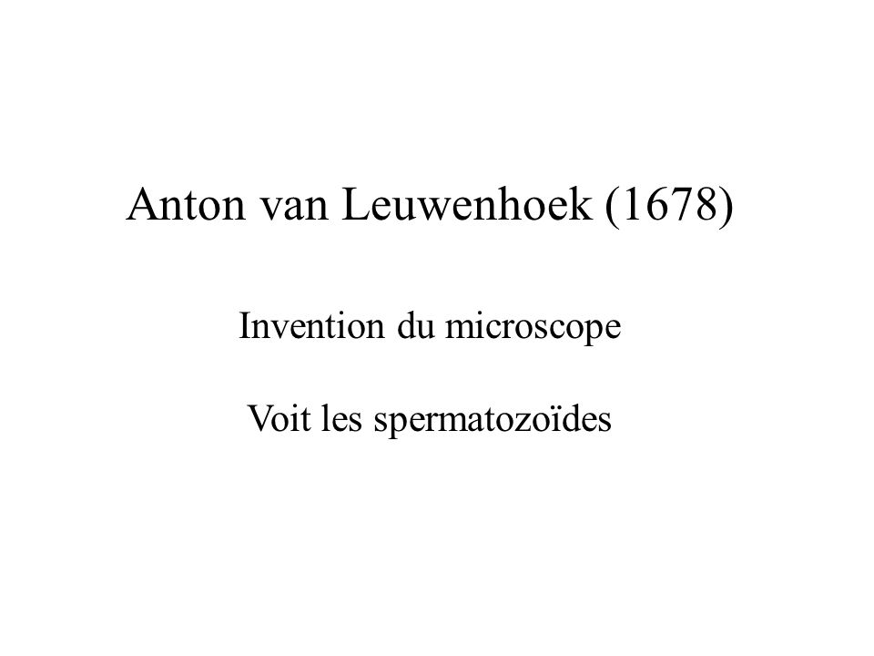 Anton van Leuwenhoek (1678) Invention du microscope Voit les spermatozoïdes
