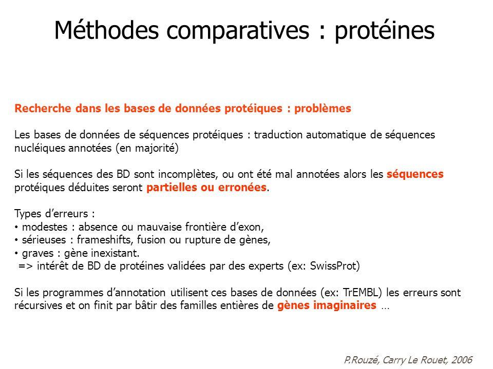 Recherche dans les bases de données protéiques : problèmes Les bases de données de séquences protéiques : traduction automatique de séquences nucléiques annotées (en majorité) Si les séquences des BD sont incomplètes, ou ont été mal annotées alors les séquences protéiques déduites seront partielles ou erronées.