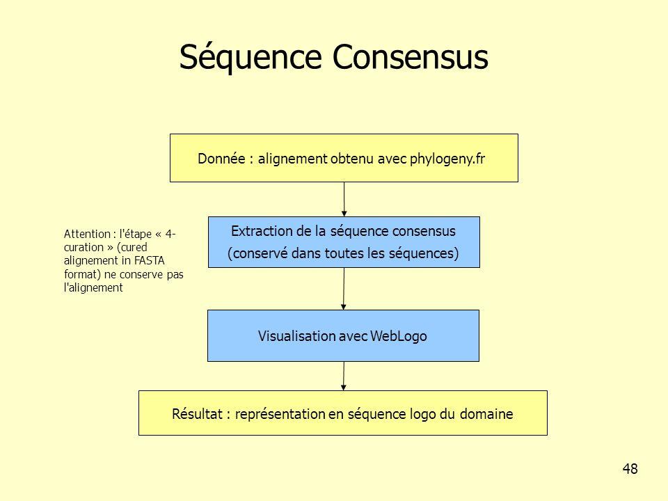 Séquence Consensus Donnée : alignement obtenu avec phylogeny.fr Résultat : représentation en séquence logo du domaine Extraction de la séquence consensus (conservé dans toutes les séquences) 48 Attention : l étape « 4- curation » (cured alignement in FASTA format) ne conserve pas l alignement Visualisation avec WebLogo