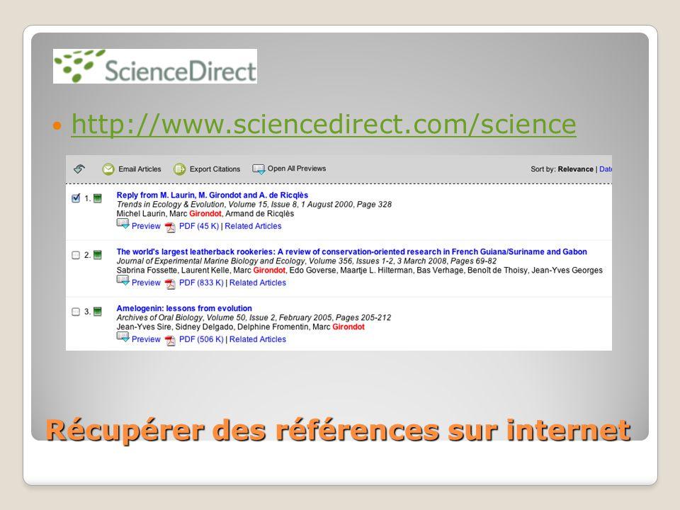 Récupérer des références sur internet http://www.sciencedirect.com/science