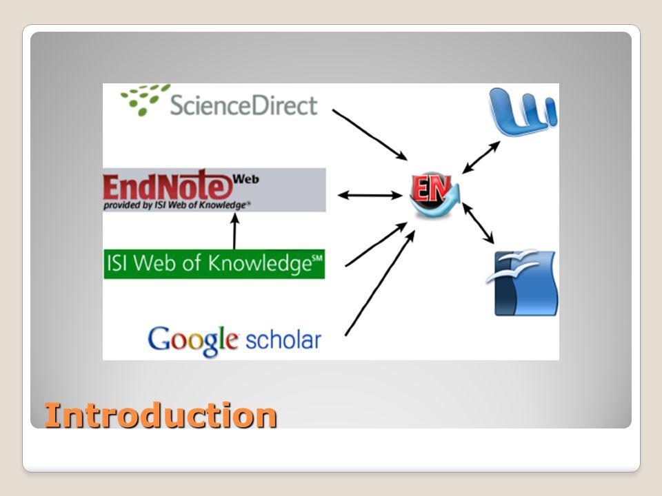 Contenu Entrer une référence manuellement Interfacer Endnote avec des bases de données bibliographiques GoogleScholar MyEndnoteWeb Web of Knowledge ScienceDirect Interfacer Endnote avec Microsoft Word