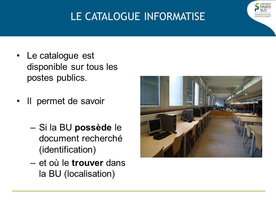 Le catalogue est disponible sur tous les postes publics. Il permet de savoir –Si la BU possède le document recherché (identification) –et où le trouve