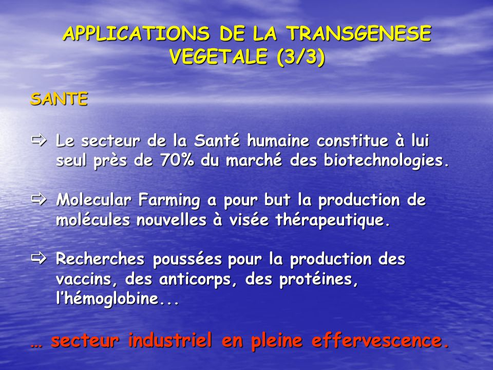 APPLICATIONS DE LA TRANSGENESE VEGETALE (3/3) SANTE Le secteur de la Santé humaine constitue à lui seul près de 70% du marché des biotechnologies. Le