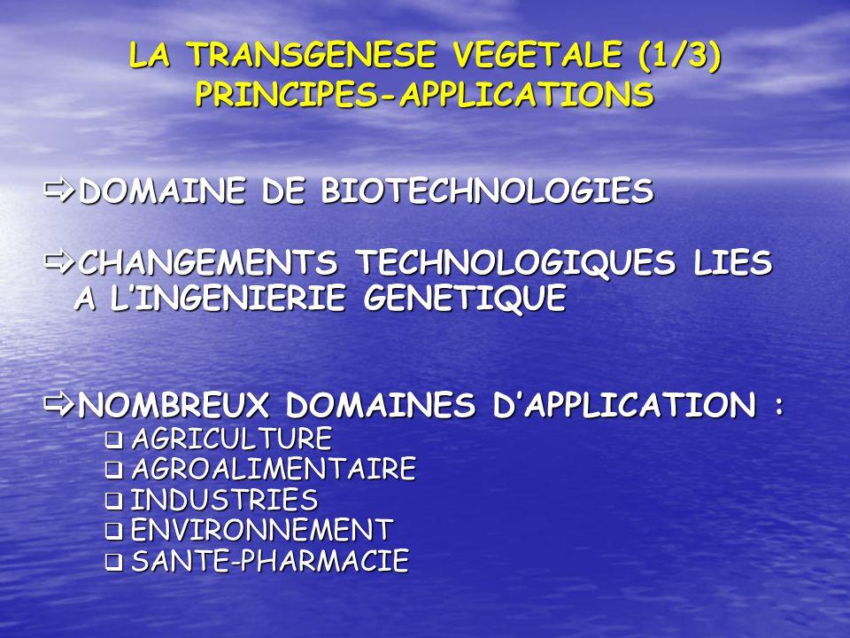 LA TRANSGENESE VEGETALE (1/3) PRINCIPES-APPLICATIONS DOMAINE DE BIOTECHNOLOGIES DOMAINE DE BIOTECHNOLOGIES CHANGEMENTS TECHNOLOGIQUES LIES A LINGENIER