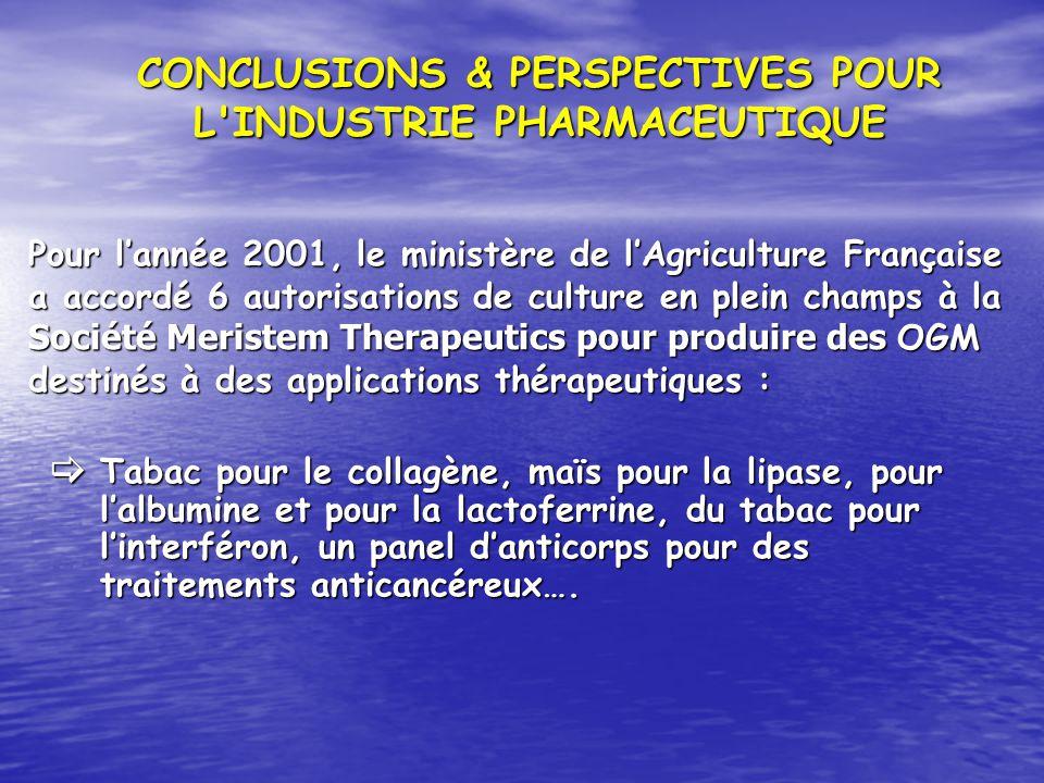 Pour lannée 2001, le ministère de lAgriculture Française a accordé 6 autorisations de culture en plein champs à la Société Meristem Therapeutics pour