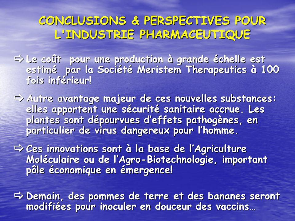 Le coût pour une production à grande échelle est estimé par la Société Meristem Therapeutics à 100 fois inférieur! Le coût pour une production à grand