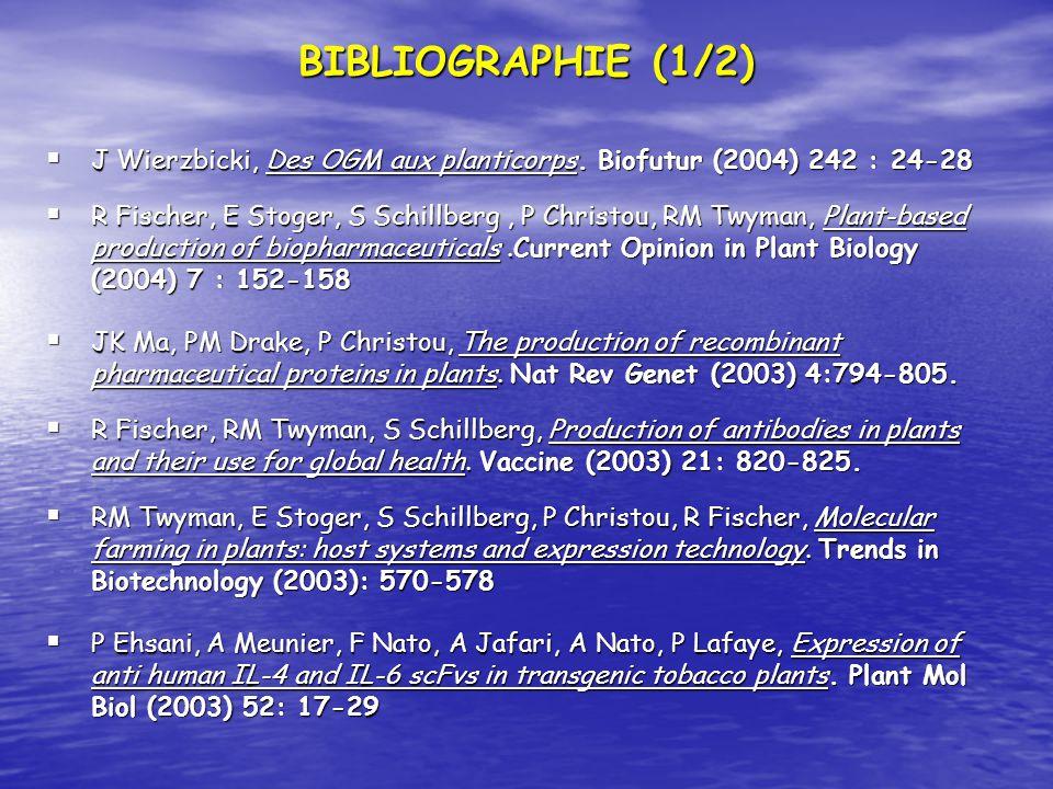 J Wierzbicki, Des OGM aux planticorps. Biofutur (2004) 242 : 24-28 J Wierzbicki, Des OGM aux planticorps. Biofutur (2004) 242 : 24-28 R Fischer, E Sto