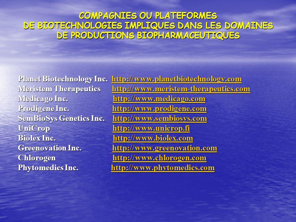 COMPAGNIES OU PLATEFORMES DE BIOTECHNOLOGIES IMPLIQUES DANS LES DOMAINES DE PRODUCTIONS BIOPHARMACEUTIQUES Planet Biotechnology Inc. http://www.planet